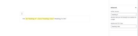 É possível adicionar Âncoras de HTML e Classes CSS na barra lateral.