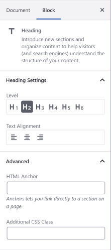 The heading block options offer h5, h6, and text alignment options.