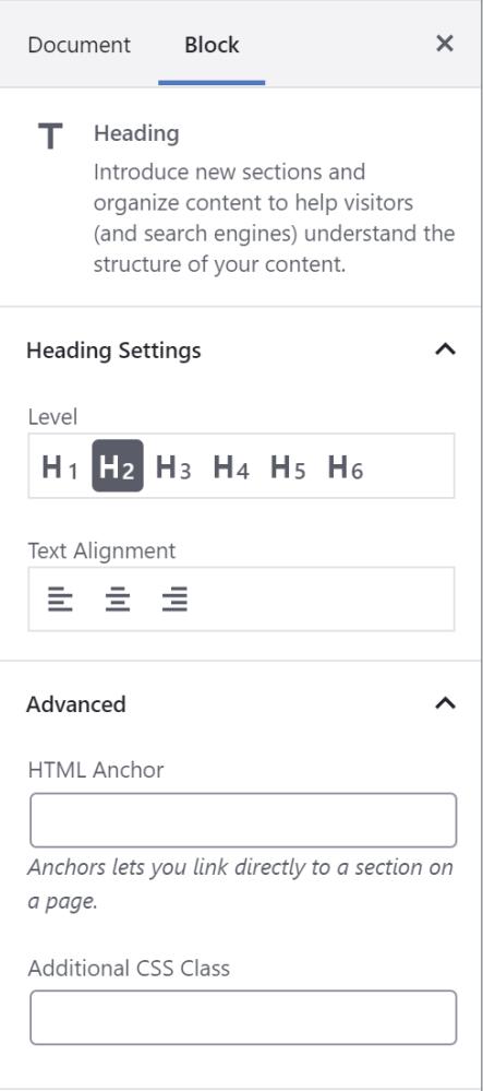 Die Optionen für die Überschriftsblöcke bieten h5, h6 und Optionen zur Textausrichtung.