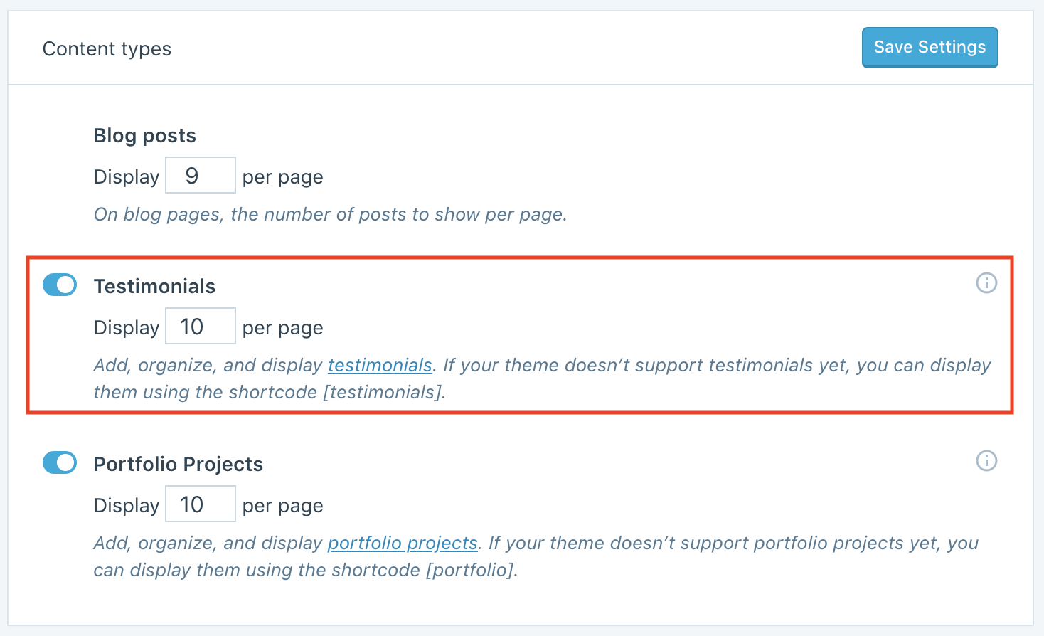 The Testimonials option is marked in a red box