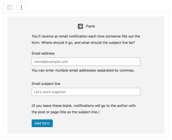 Form Block - Email and Subject Line