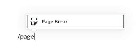 Page Break Block - Add Typing