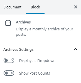 Archives Block Settings