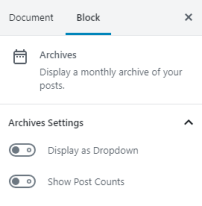 Archives Block Settings