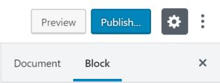 Você encontra as configurações do bloco na barra lateral.