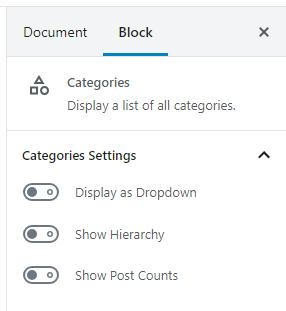 Categories Settings