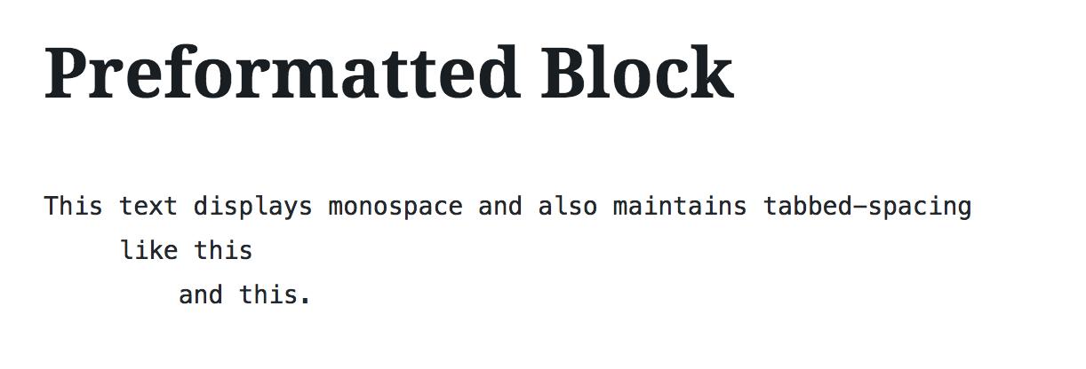 Preformatted Block — Support — WordPress com