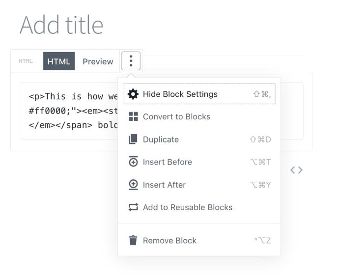 HTML Block Options