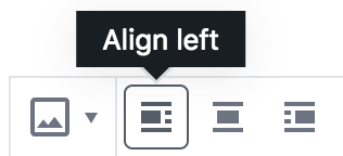 Alignment buttons with Align Left highlighted