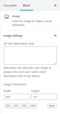 Images can be changed by percentages or pixel dimensions.
