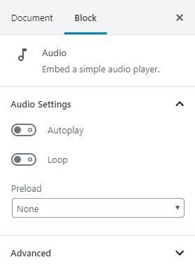The audio block can be set to Autoplay, loop, or Preload.
