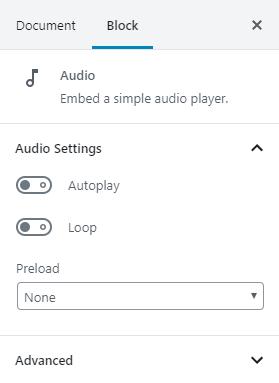 O bloco de áudio pode ser configurado para Reprodução automática, Loop ou Pré-carregamento.