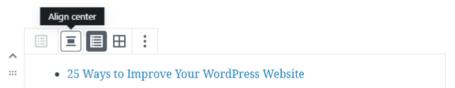 Barra de ferramentas do bloco de posts mais recentes