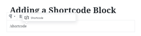 Shortcode Block Slash Command