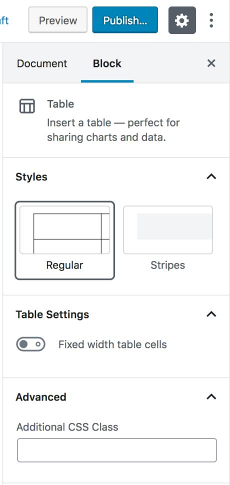 Table Block — Support — WordPress com