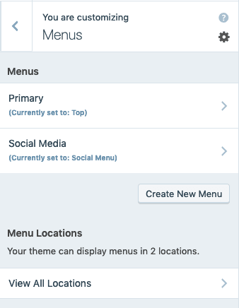 Customizer - Menus