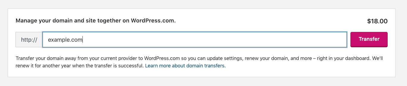 entering the domain name you want transferred