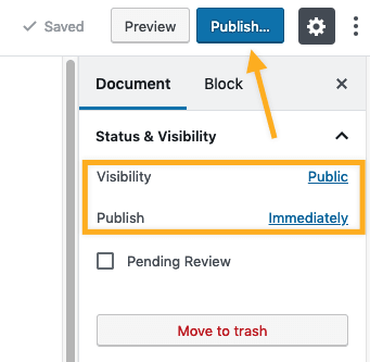 the Document sidebar menu with an arrow pointing to the Publish button.