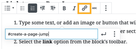 Page Jump - Create Link