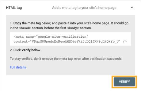 Indexar en Google. Herramientas de administrador web: Verificación de etiqueta HTML