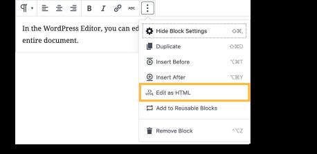 WordPress Editor - HTML