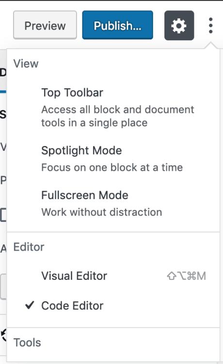 WordPress Editor - Edit Page as HTML