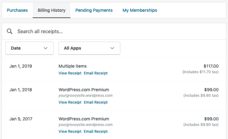 Billing History — Support — WordPress com