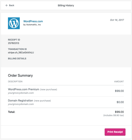 Billing - View Receipt