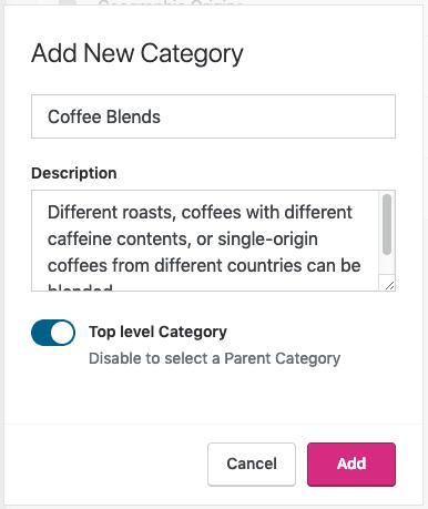 Categories - Add Category in Settings