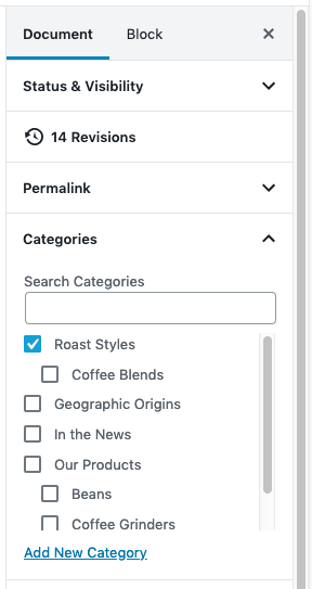 Categories - In Post