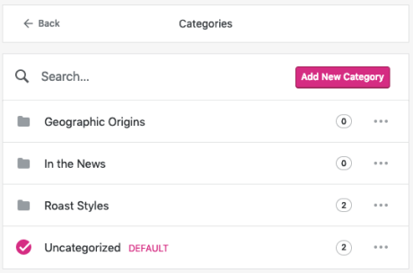 Categories - Settings Page