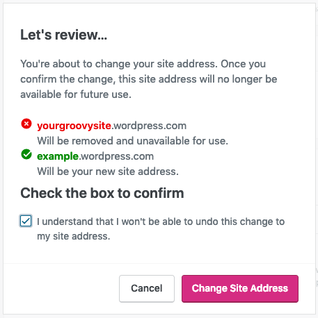 Change Site Address - Confirmation