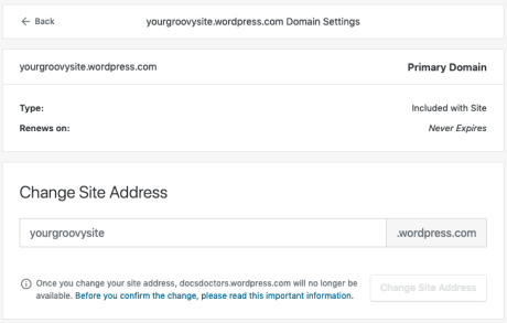 Change Site Address - Page