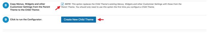 Creating a child theme using Child Theme Configurator