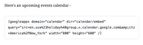 Google Calendar - Converted to Shortcode