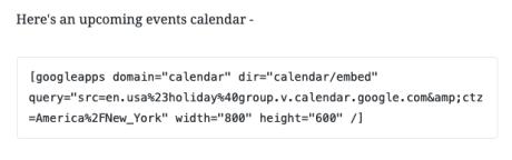 Google Calendar - Converted to Shortcode