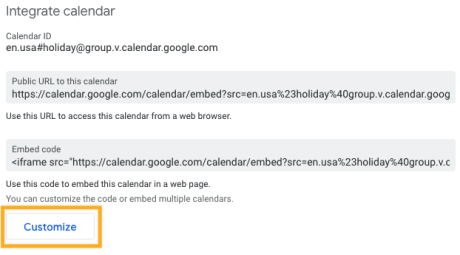 Google Calendar - Customize