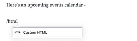 Google Calendar - HTML Block