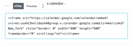 Google Calendar - HTML Embed Code