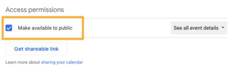 Google Calendar - Make Public