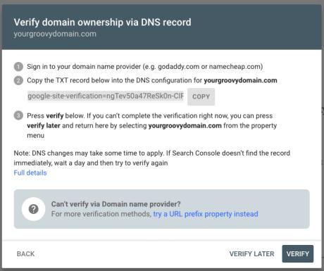 Google - Verify domain via DNS