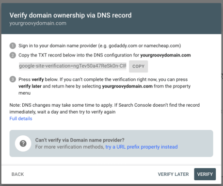 Google - Verify domain via DNS