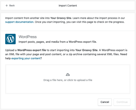 Import — Support — WordPress com