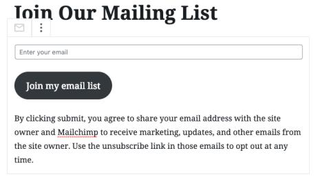 Mailchimp Block - Edit Block