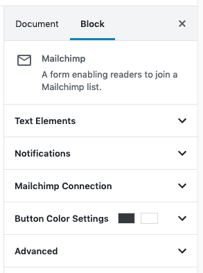 Mailchimp Block Settings - Sidebar