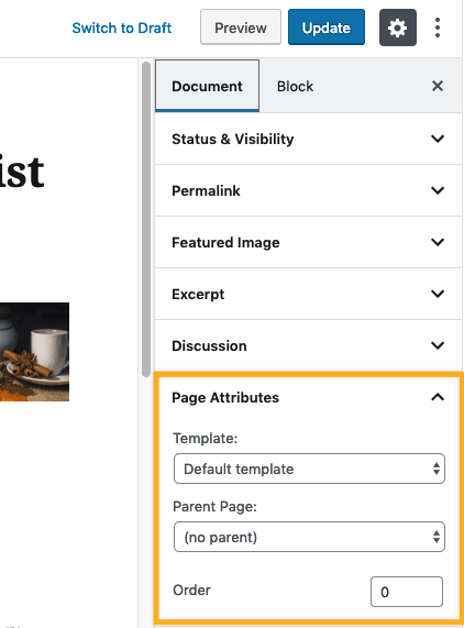 Page Attributes Option