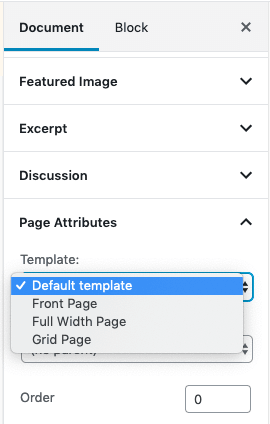 Page Attributes - Template