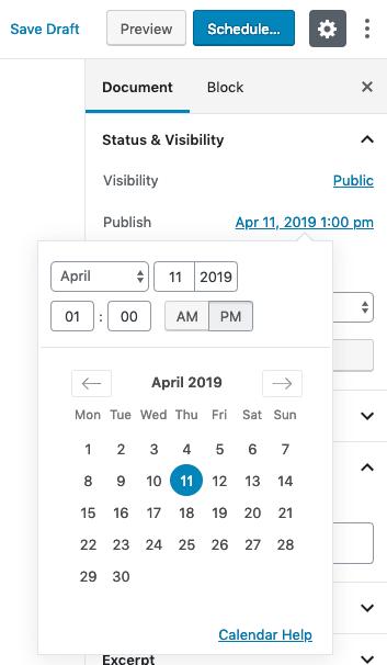 Schedule Posts - Calendar