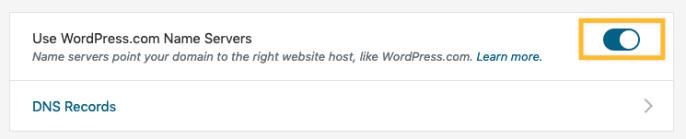 Usar os servidores de nome do WordPress
