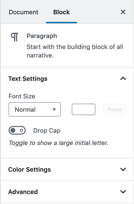 WordPress Editor - Block Settings Sidebar